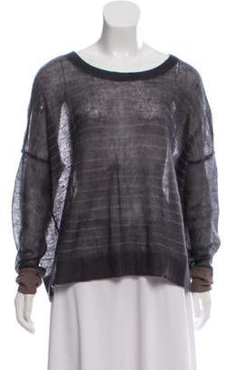 Duffy Fur Blended Striped Top Grey Duffy Fur Blended Striped Top