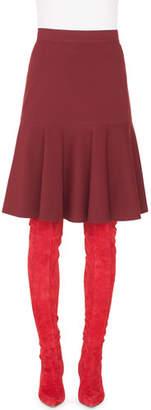 Akris Punto High-Waist Bell-Shape Scuba Velvet Knee-Length Skirt