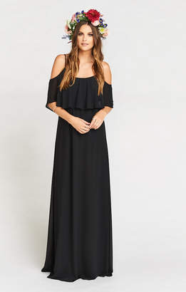 Show Me Your Mumu Caitlin Ruffle Maxi Dress ~ Black Chiffon