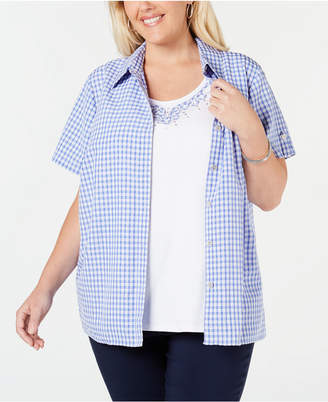 74afa7d820 Alfred Dunner Plus Size The Summer Wind Cotton Layered-Look Top