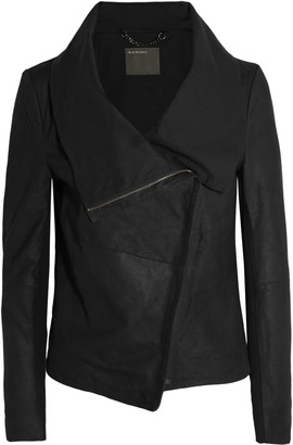 Muubaa Draped suede biker jacket $565 thestylecure.com