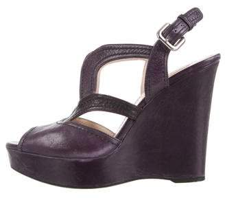 Prada Leather Wedge Sandals