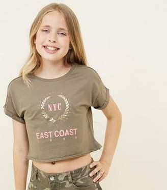 New Look Girls Khaki NYC East Coast Slogan T-Shirt
