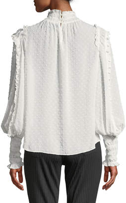 Max Studio Clip Dot Long-Sleeve Smocked Blouse