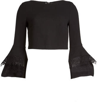 Roland Mouret Liverton Wool Top with Lace