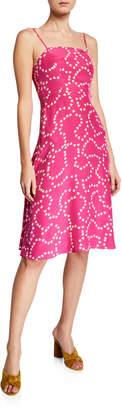 Hvn Nora Heart-Print Square-Neck Silk Midi Dress