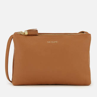 Ted Baker Women's Maceyy Tassle Double Zipped Cross Body Bag - Tan