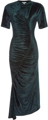 Kenzo Gathered Velvet Midi Dress