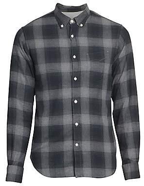 Officine Generale Men's Shadow Plaid Cotton Shirt