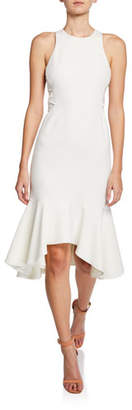 Halston Sleeveless Flounce-Hem Dress with Twist Detail