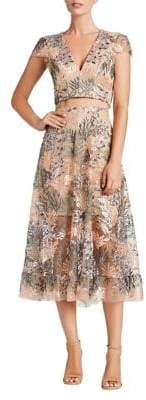 Dress the Population Two Piece Lace Embroidered Top and Skirt Set