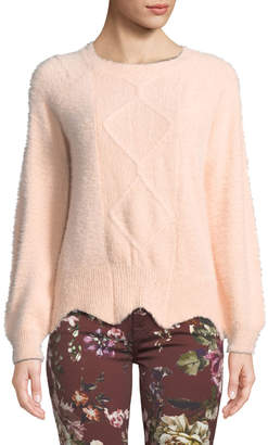 Haute Rogue Olly Fuzzy Scalloped-Hem Sweater