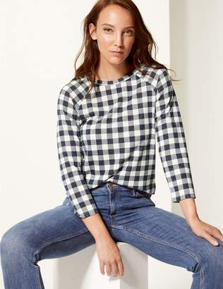 Marks and Spencer Checked Raglan Round Neck 3/4 Sleeve Top