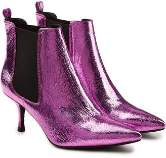 Anine Bing Stevie Metallic Leather Ankle Boots