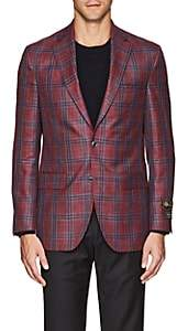 Jack Victor MEN'S CHECKED TWO-BUTTON SPORTCOAT-RED SIZE 40 L