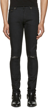 Saint Laurent Black Studded Low Waisted Skinny Jeans $1,090 thestylecure.com