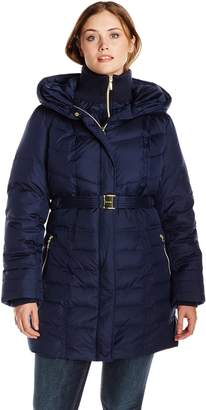 Kensie Outerwear Women's Long Down Coat with Hood Plus