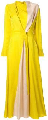 LAYEUR contrast panel long dress