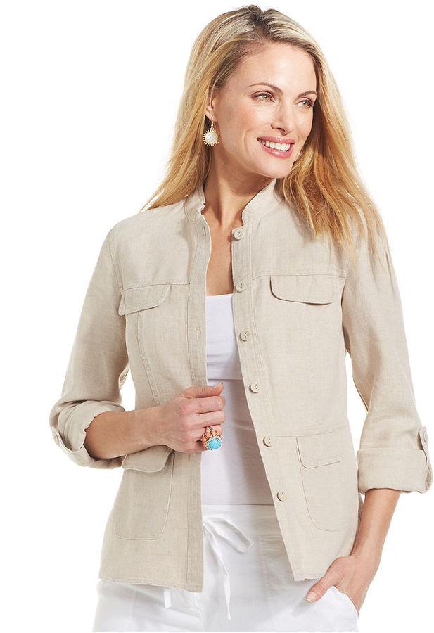 Charter Club Linen Button-Front Jacket