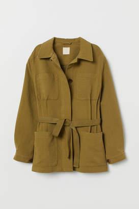 H&M Twill Jacket with Tie Belt - Green