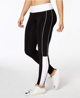 Material Girl Active Juniors' Colorblocked Lace-Up Yoga Leggings, Created for Macy's