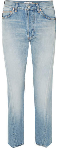 Twisted High-rise Straight-leg Jeans - Blue