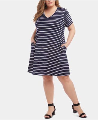 Karen Kane Plus Size Striped V-Neck Dress