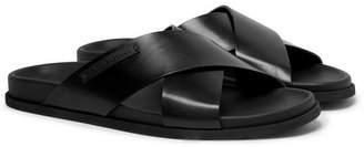 Dolce & Gabbana Logo-Appliqued Leather Sandals - Men - Black