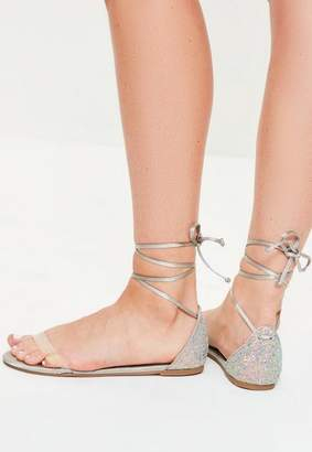 Missguided Gray Glitter Back Flat Sandals