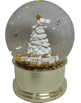 Christmas Shop Ani-Waterglobe 10 x 10 Snowy Tree Musical White