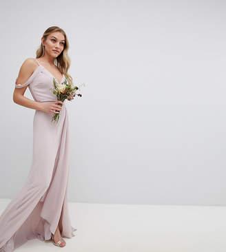 TFNC Petite Cold Shoulder Wrap Maxi Bridesmaid Dress With Fishtail