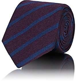 Barneys New York Men's Striped Waffle-Textured Silk Necktie - Purple