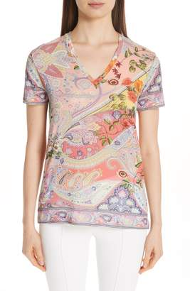 Etro Paisley Print Stretch Jersey Tee