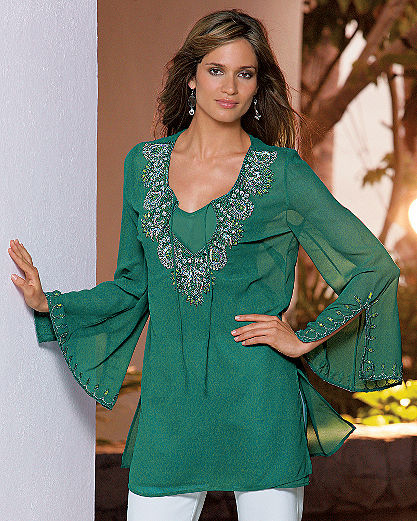 Together® Jeweled georgette tunic