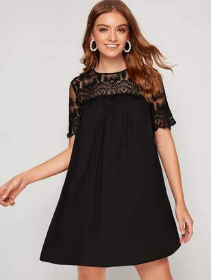Shein Embroidery Mesh Yoke Trim Tunic Dress
