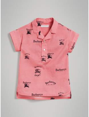 Burberry Short-sleeve Archive Logo Print Cotton Shirt , Size: 4Y