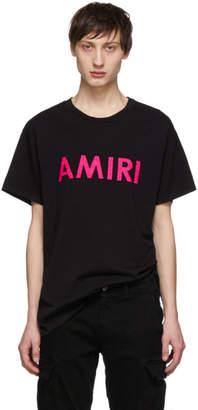 Amiri Black and Pink Logo T-Shirt