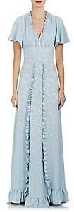 Mayle Maison Women's Ruffle Floral Silk Jacquard Gown - Lt. Blue