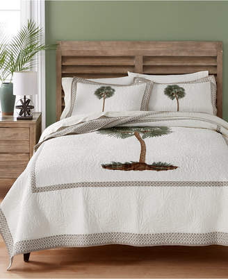 Martha Stewart Collection Lone Palm Cotton Embroidered King Quilt, Created for Macy's