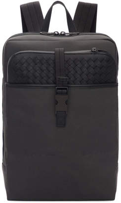 Bottega Veneta Grey and Black Medium Canvas High-Teck Backpack