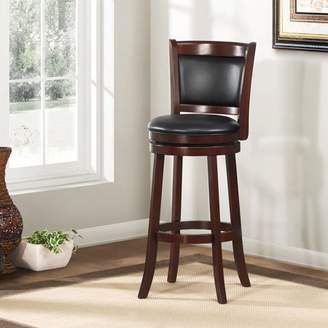 "ShapeL Weston Home 29"" Swivel Cushion Back Bar Stool with Faux Leather Cushion, Cherry"