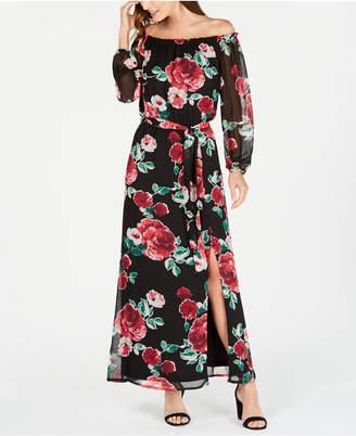 Nine West Floral Off-The-Shoulder Maxi Dress