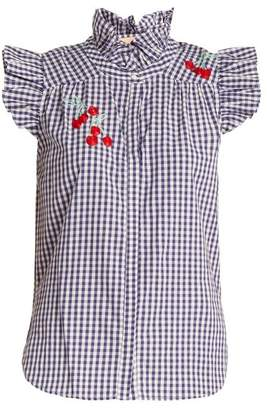 Bliss and mischief Bliss And Mischief - Cherry Embroidered Gingham Cotton Shirt - Womens - Blue White