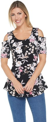 Isaac Mizrahi Live! Tropical Floral Cold Shoulder Peplum Tunic