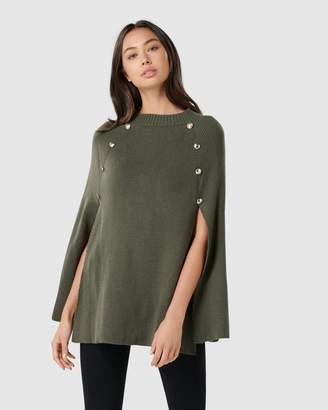 Forever New Fiona Knitted Button Poncho