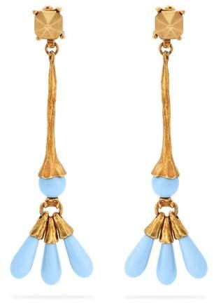 Valentino - Bead Embellished Earrings - Womens - Blue