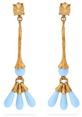 Valentino Bead Embellished Earrings - Womens - Blue