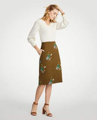 Ann Taylor Petite Embroidered Floral Pocket Skirt