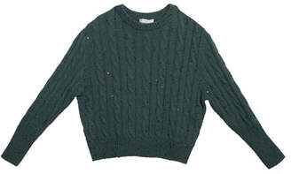 Brunello Cucinelli Girl's Cashmere Cable Knit Sweater w/ Paillettes, Size 4-6