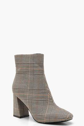 boohoo Check Square Toe Shoe Boots